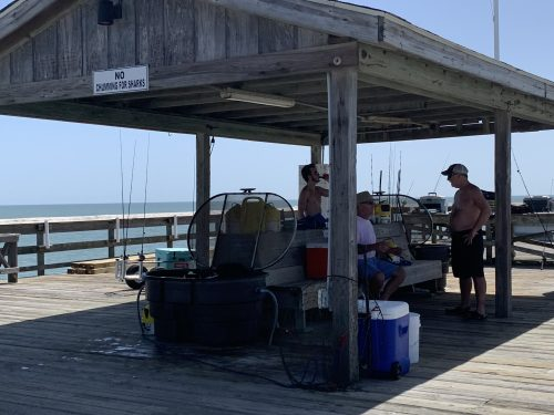 Fishermen gathered at Pawleys Pier