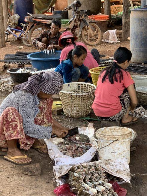 Cambodian family drying fish