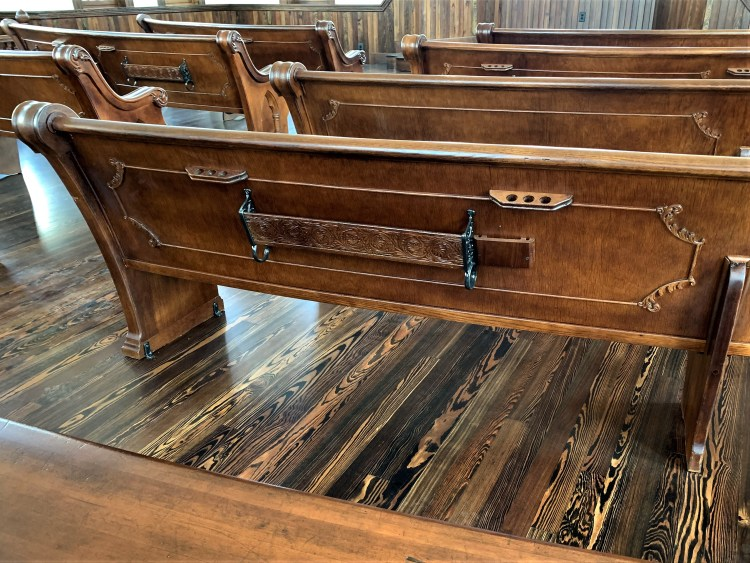 The Old Church, Waco, TX - floor and bench details