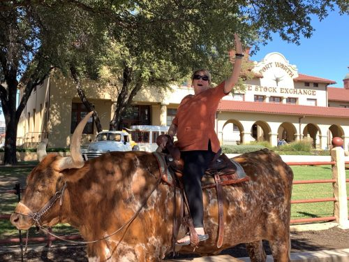 Riding the bull in Ft. Worth Stockyards