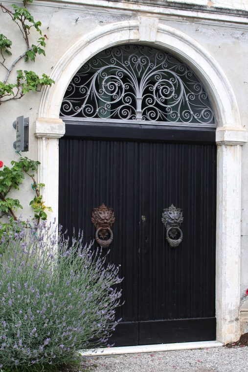 Double black doors at Villa Monastero, Varenna, Italy