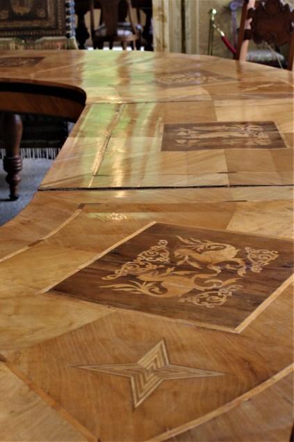 Inlaid wood table, Villa Monastero in Varenna Italy