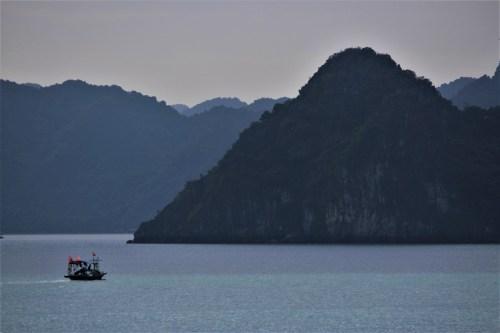 Lone boat at Halong Bay, Vietnam