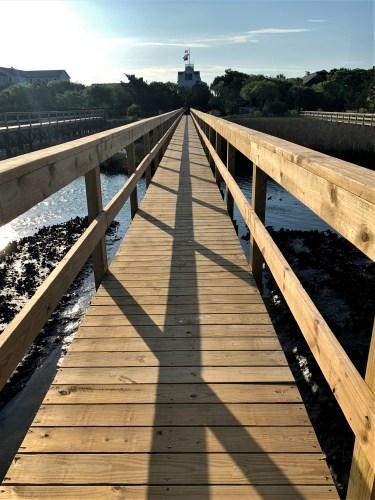 Morning shadows on a dock at Pawleys Island, South Carolina