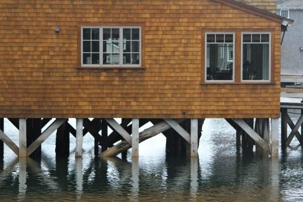 Kennebunkport - gold shingled building up close