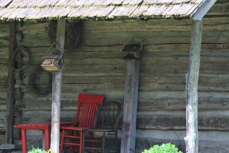 Country porch with red chair - North Carolina
