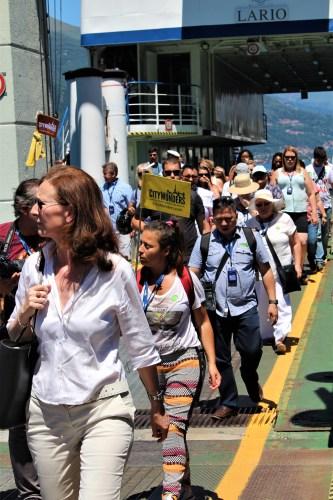 Lake Como tourists leaving the ferry