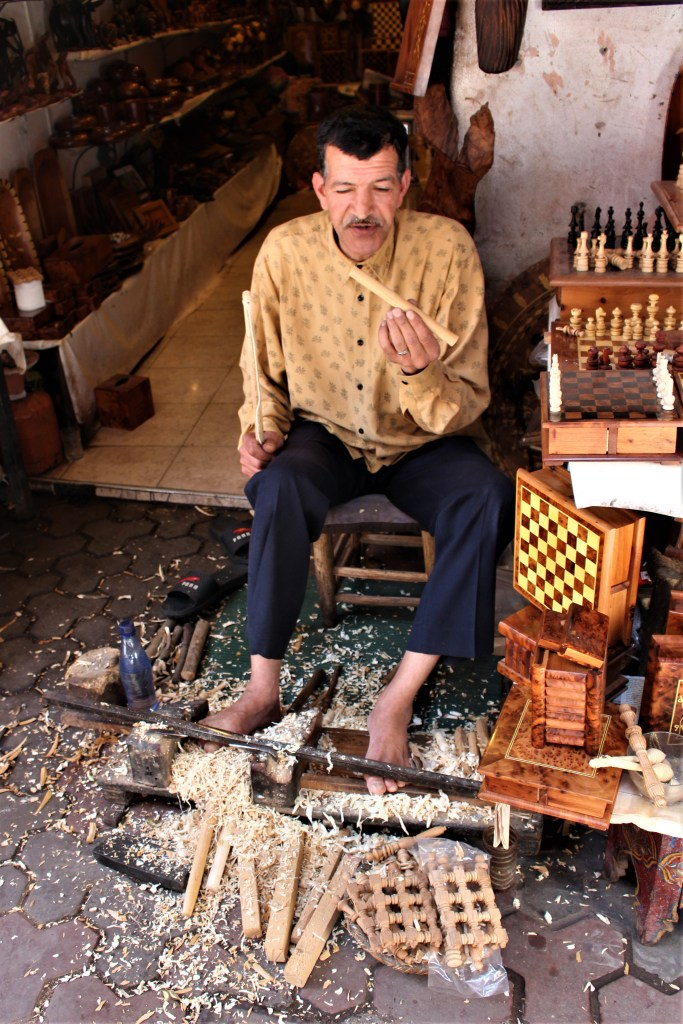 Wood turner in Morocco