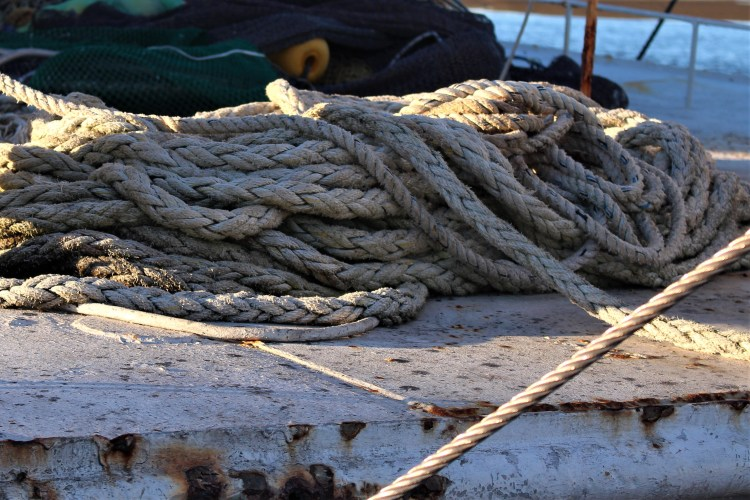 Apalachicola FL: rope on a boat on Mill Pond