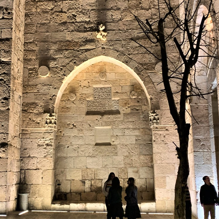 Church of the Holy Sepulchre, Jerusalem lit up for evening