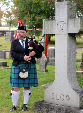 Bagpiper at Old Gray Cemetery