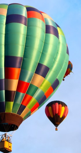 Green patchwork balloon -- Balloon fiesta 2014
