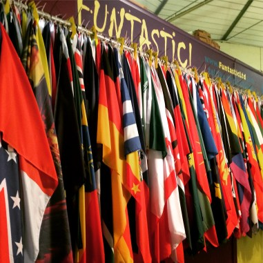 Colorful flags at Guildhall Market, Bath.