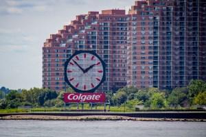 Colgate clock on west side of Hudson River