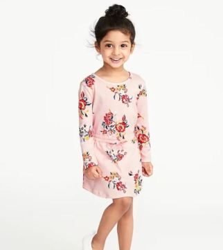 Flroal Print Jersey Dress Girls