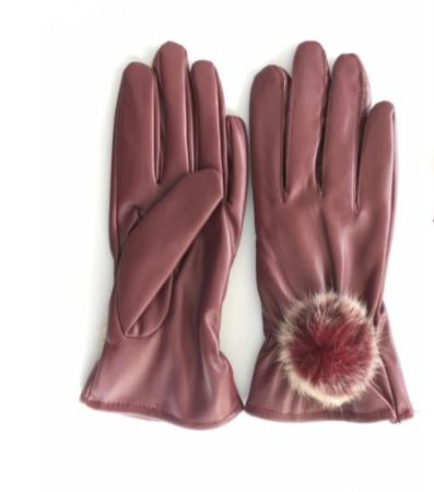 Red Fur Leather Gloves