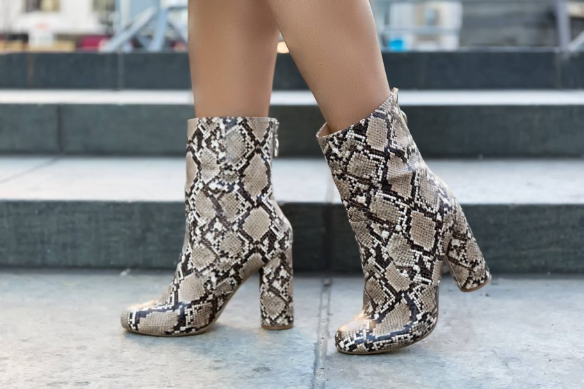 Just Fab Snake Skin Mid Calf Boot