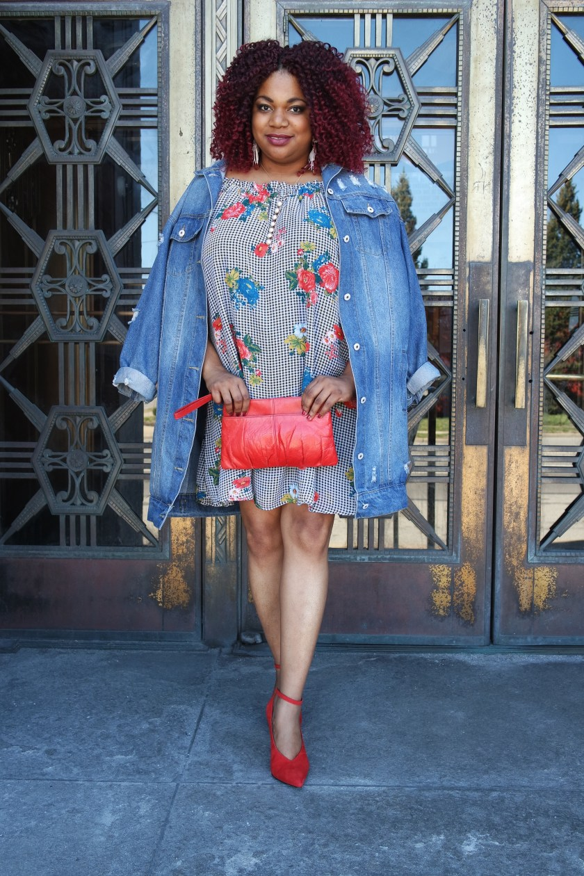 Plus Size Off the Shoulder Dress with Ruffle Sleeve