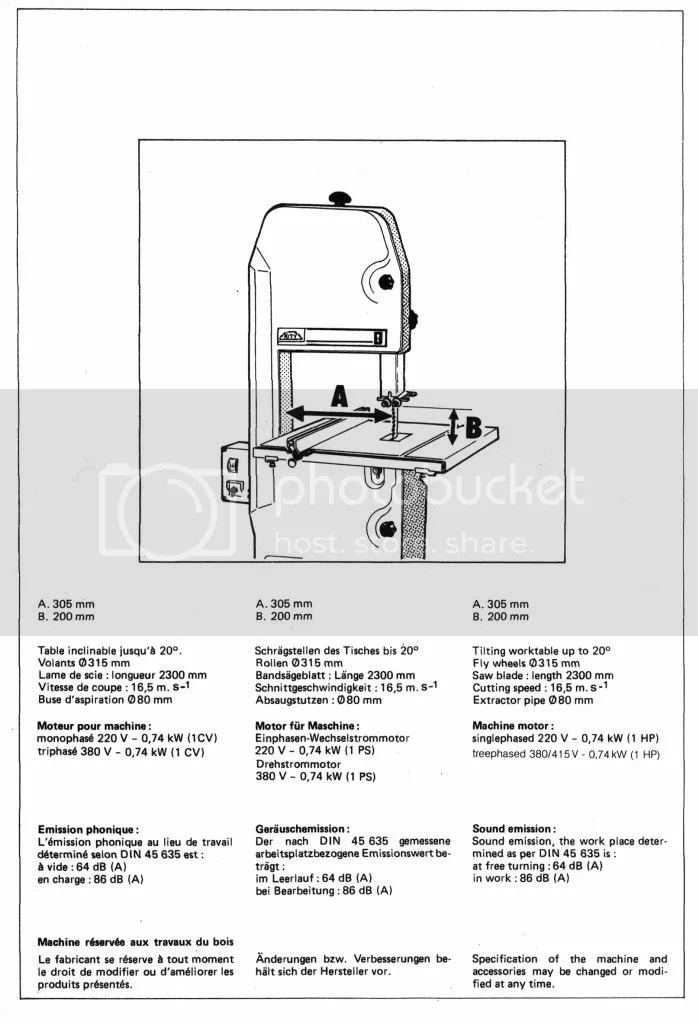 Kity 613 Bandsaw Specifications