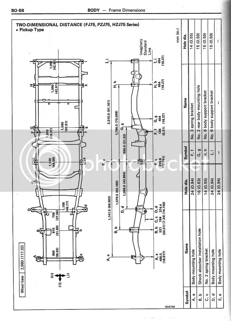 BO-88 BODY Frame Dimensions 2D FJ75 PZJ75 HZJ75 Pickup