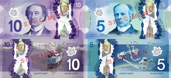 Como serão as novas notas de C$5 e C$10?