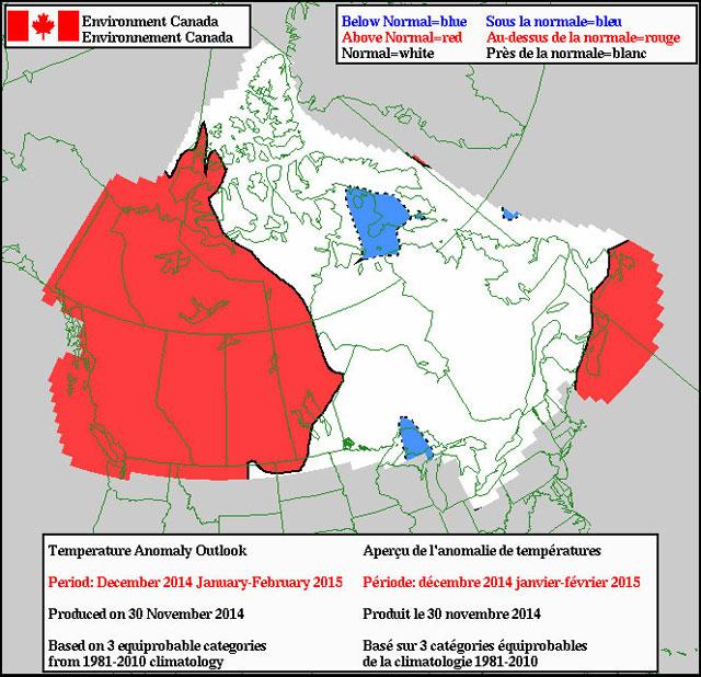 Inverno mais ameno do Canadá 2014-2015