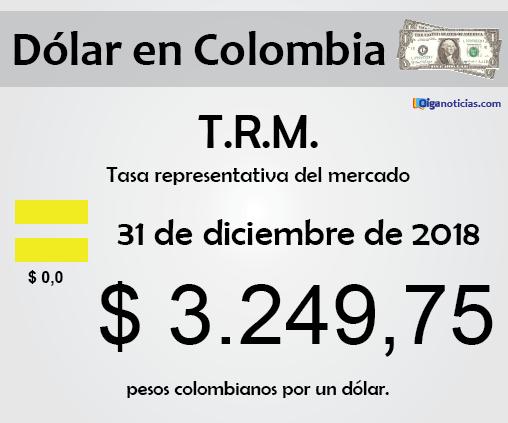 T.R.M. Colombia: pesos por 1 dólar, 31 de diciembre de 2018