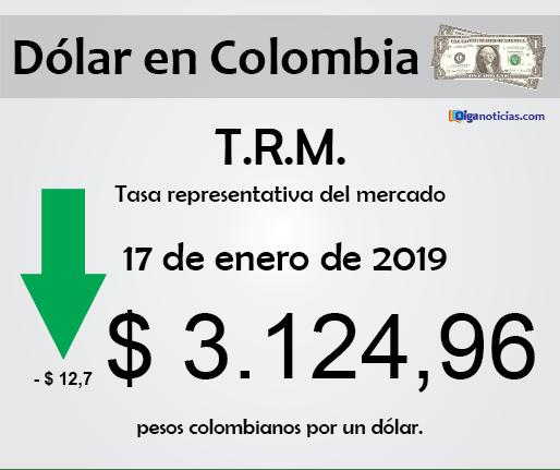 T.R.M. Colombia: pesos por 1 dólar, 17 de enero de 2019
