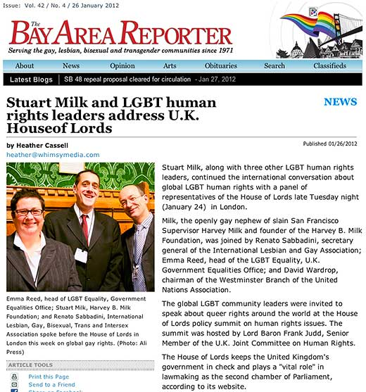 The Bay Area Reporter: Stuart Milk and LGBT human rights leaders address U.K. House of Lords - click to read this article.