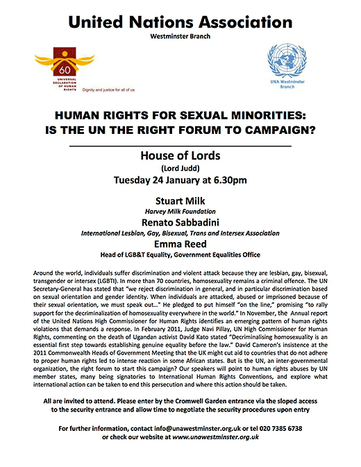 United Nations Association: Human Rights for Sexual Minorities: Is the UN the right forum to campaign?