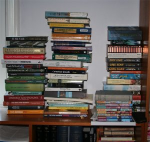 Stacks of books still to be read