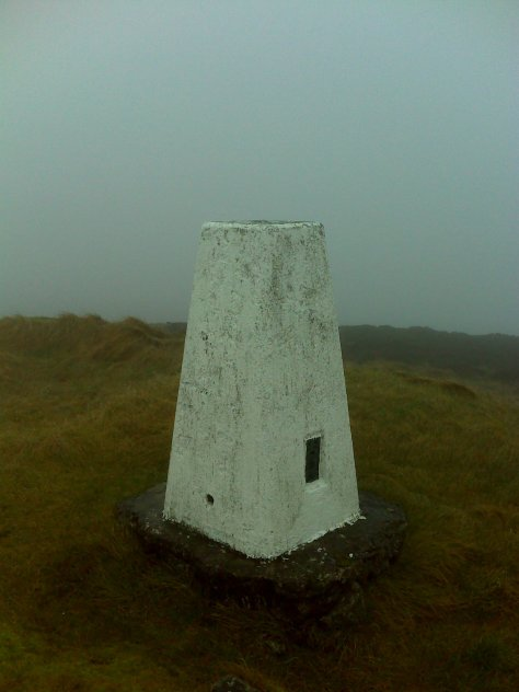 King's Seat trig point in mist