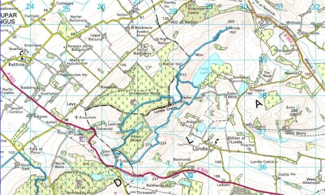 Map of Tullybaccart to Newtyle route
