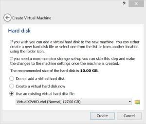 Using VirtualXPVHD.vhd