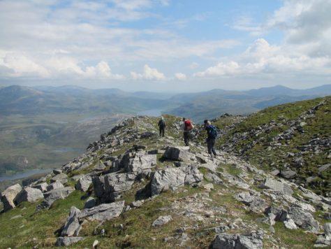 Descending towards Loch More along summit ridge of Ben Stack