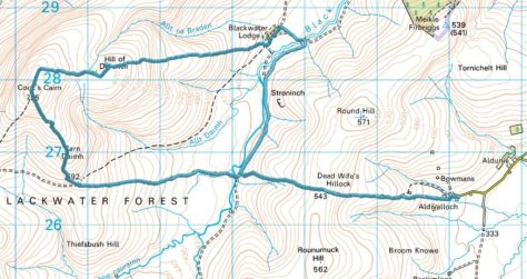 Route on Cook's Cairn from Aldivalloch