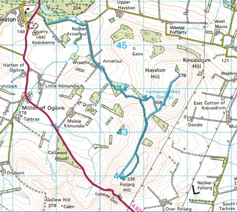 Kincaldrum to Finlarg route