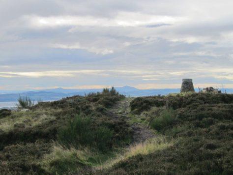 Summit of Balkello Hill, looking towards Lomond Hills in Fife