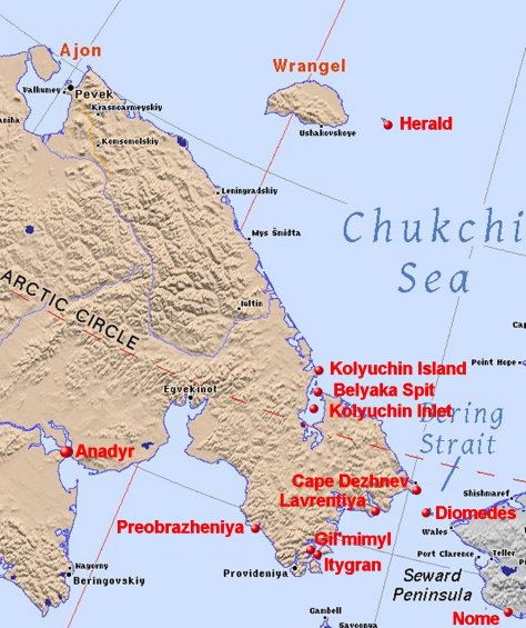 Chukchi Peninsula map