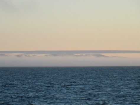 Wrangel Island obscured by sea fog