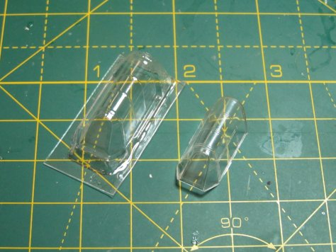 Squadron vacuform Hurricane canopy and Hasegawa kit canopy