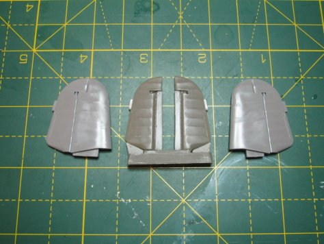 Resin 1/48 Hurricane elevators and Hasegawa kit parts