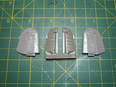 Resin 1/48 Hurricane elevators and Hasegawa kit parts