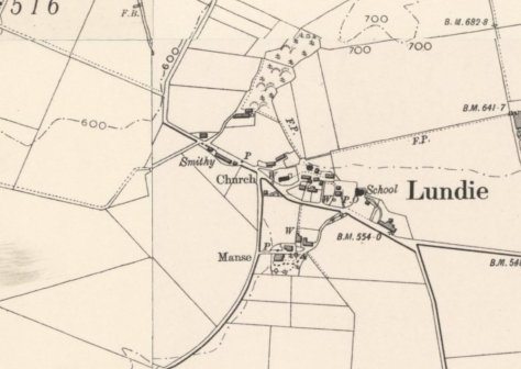 1900 OS Map of Lundie, showing smithy