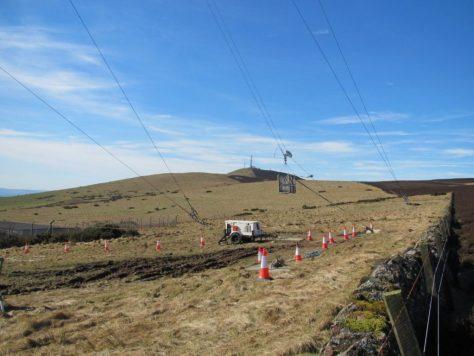 The inspection gondola on Gallow Hill telecom mast