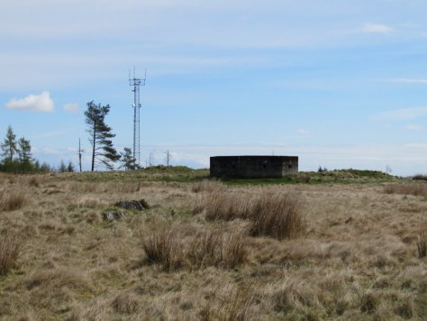 Transmission mast and WWII pillbox at east end of Labothie Hill