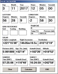 Solar calculator written in VB6