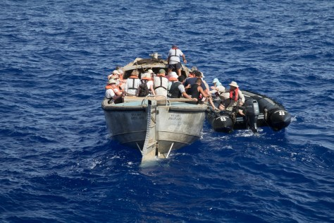 Transferring from Pitcairn longboat to Zodiac