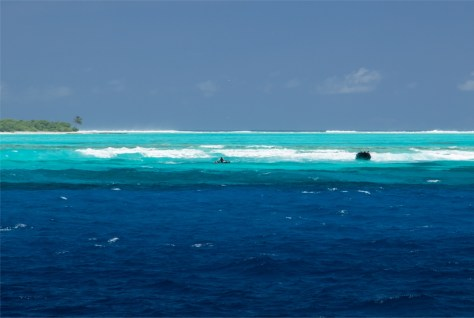 Crossing the reef, Oeno Island