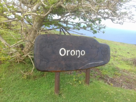 Orongo sign with eng, Easter Island